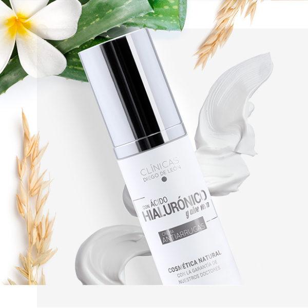 Crema facial antiarrugas con ácido hialurónico