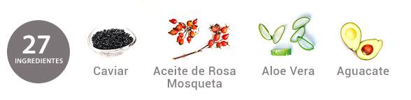 Ingredientes Crema Regenerante con Caviar-lift y aceite de Rosa mosqueta